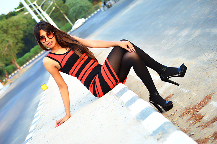 Fashion, Style, Fashion Photography, Street Style, Indian Fashion Blogger, OOTD, Fashion Blogger, Bodycon Dress, Stripe Dress from AMI Clubwear, Miss Bennett London Shoes, Retro Sunglasses