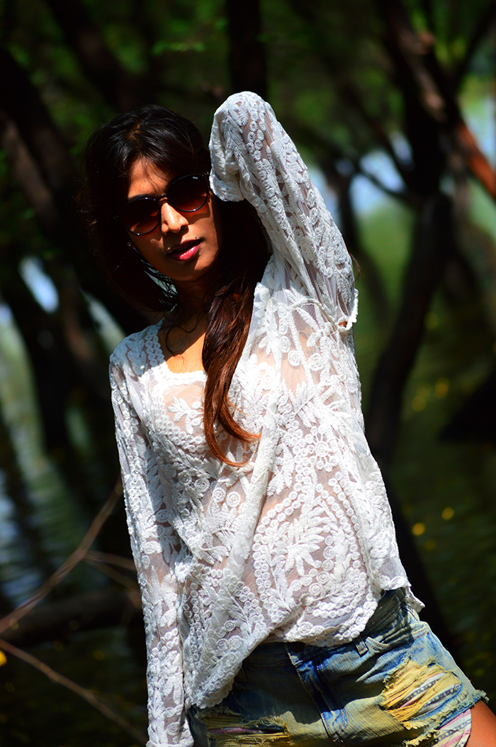 Fashion, Style, Fashion Photography, Street Style, Fashion Blogger, Indian Fashion Blogger, Style Over Coffee, Casual wear, Ami clubwear, Denim Cut-Offs, Lace top, White lace top, Denim Shorts