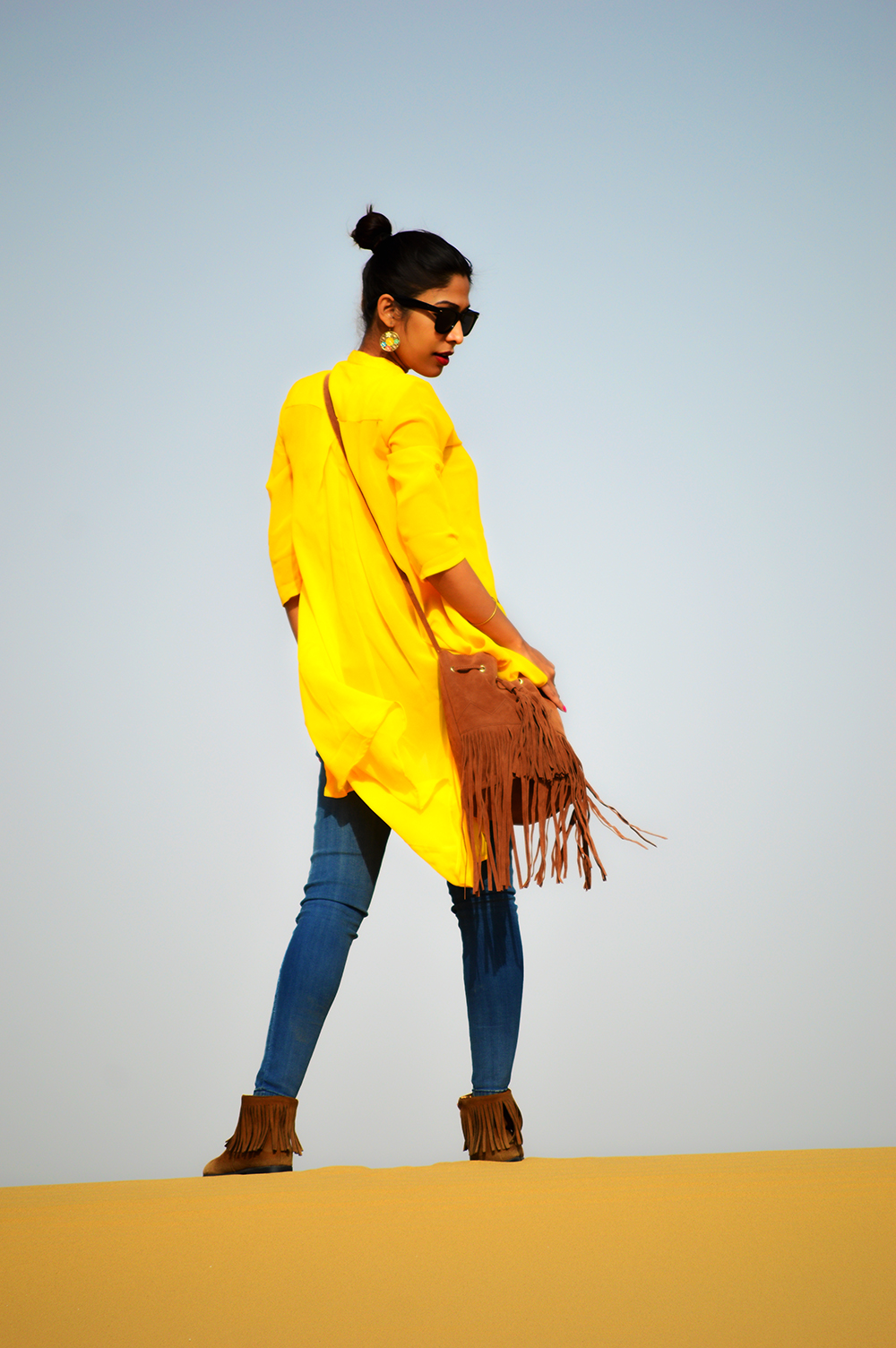 Fashion, Style, OOTD, Fashion Photography, Street Style, Blue Denim, Yellow High-Low top, Fringe Bag, Jabong, Miss Bennett London, Alia Bhatt for Jabong, Travel, Desert Safari, Jaisalmer Trip, Holiday, Travel Post, Outfit Post