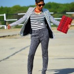 Fashion, Style, Fashion Blog, Indian fashion Blog, Monochrome Look, Fashion photography, Street syle, Black and White, Striped Blazer, Striped Top, Grey Pants, Black booots, printed envelop clutch, Necklace