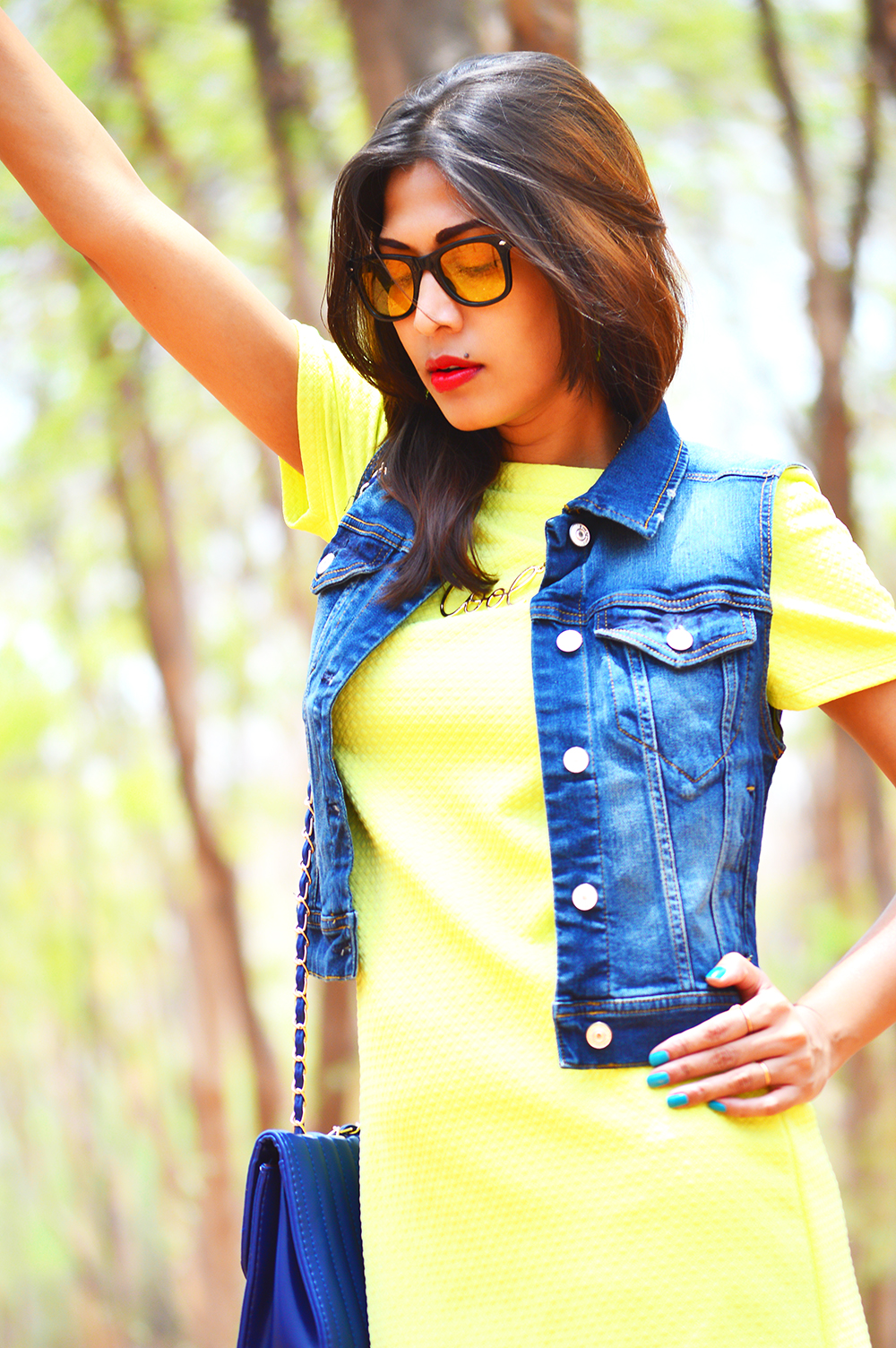 Fashion, Style, Street Style, Summer Fashion, Fashion Photography, Yellow Dress, Denim Vest, Sling Bag, Fashion Blogger, Indian Fashion-7