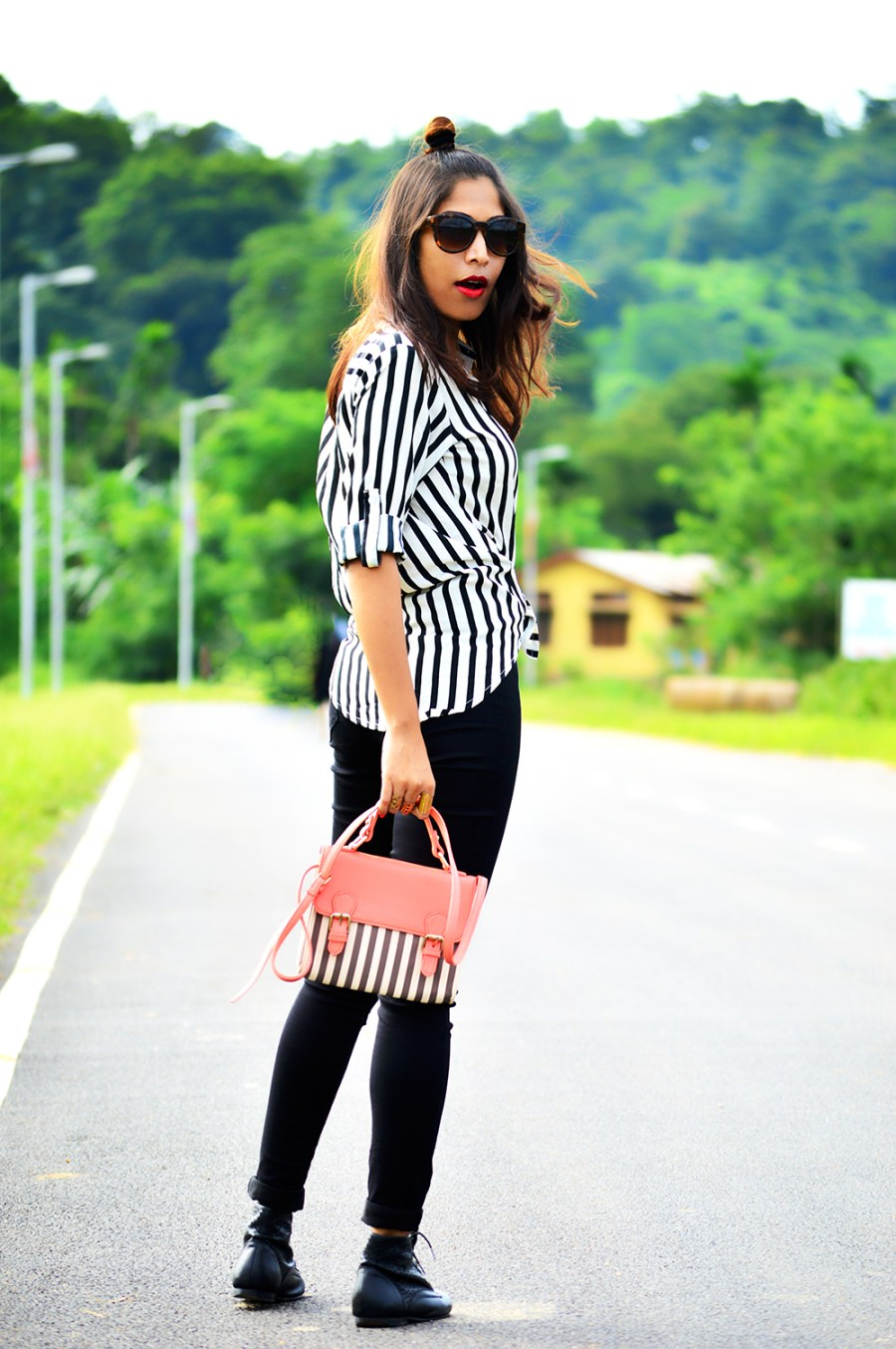 Fashion, Style, Indian Fashion Blogger, Fashion Blogger, Street Style, Summer Fashion, Stripes, Striped Shirt, Black High Wasit Jeans, Black Boots, Hairstyle, Style Over Coffee, Beauty, Sarmistha Goswami, Pankaj Jyoti Barua-5
