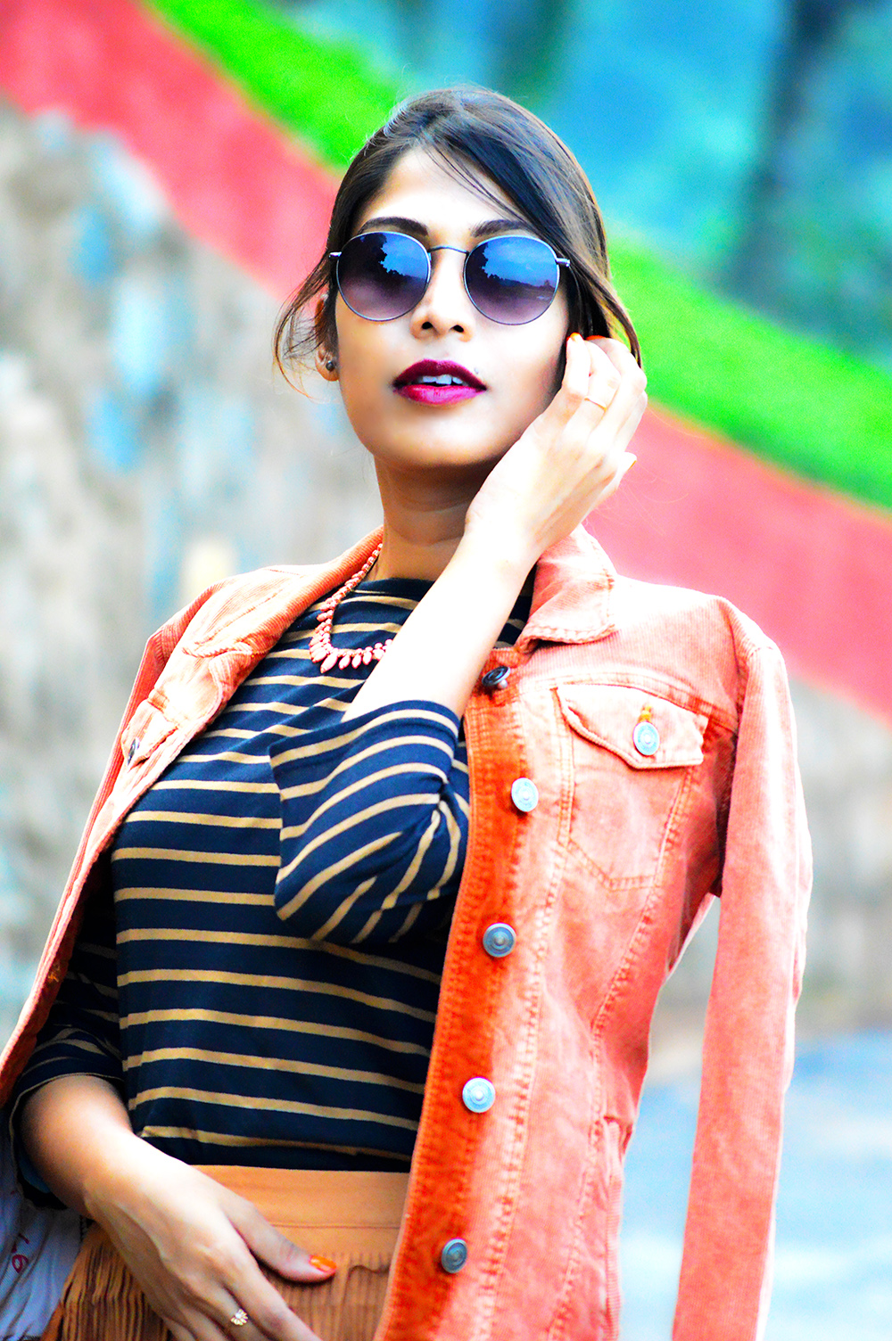 fashion, style, street style, street fashion, sarmistha goswami, style over coffee, pankaj jyoti barua, fashion blogger, indian fashion blogger, summer fashion, indian street style photography, fringe skirt, corduroy jacket, striped tee, lenskart sunglasses, Summer Street Style-2