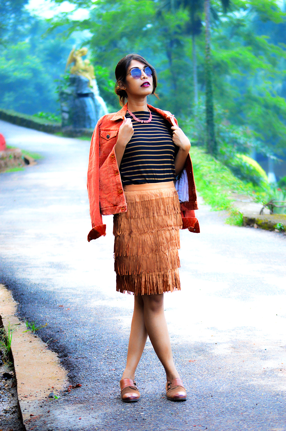 fashion, style, street style, street fashion, sarmistha goswami, style over coffee, pankaj jyoti barua, fashion blogger, indian fashion blogger, summer fashion, indian street style photography, fringe skirt, corduroy jacket, striped tee, lenskart sunglasses, Summer Street Style-1
