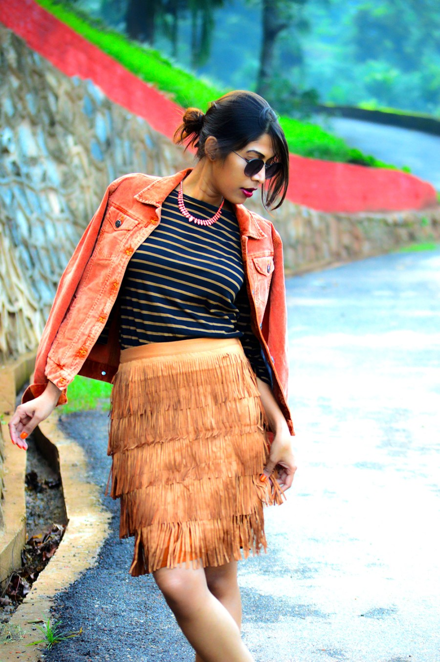 fashion, style, street style, street fashion, sarmistha goswami, style over coffee, pankaj jyoti barua, fashion blogger, indian fashion blogger, summer fashion, indian street style photography, fringe skirt, corduroy jacket, striped tee, lenskart sunglasses, Summer Street Style-8