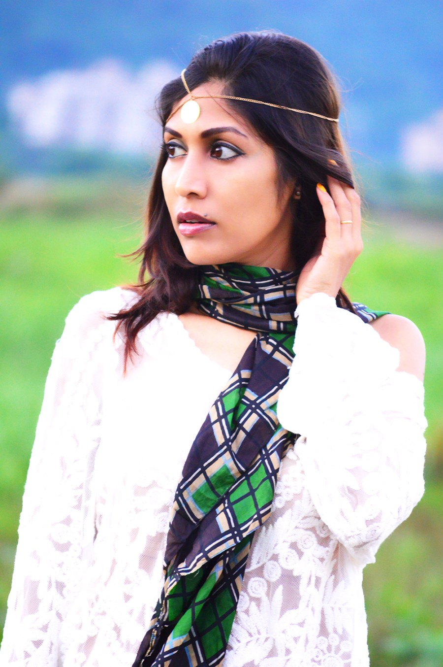 Fashion, Style, Street Style, Fashion Blogger, Fashion Photography, Indian Blogger, Lace Top, Green Trousers, Silk Scarf, Black Bag, Summer Fashion, Style Over Coffee, Pankaj Jyoti Barua Photography, Sarmistha Goswami, Street Style Photography-7