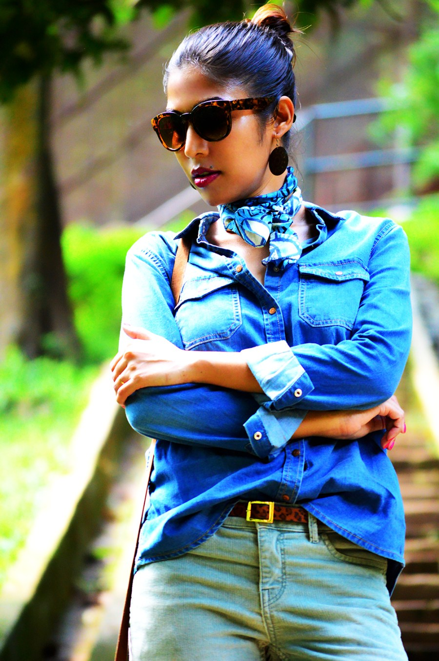 Fashion, Style, Fashion Photography, Fashion Blogger, Casual Wear, Street Style, Denim Shirt, Outfit of the day, Corduroy Pants, Indian Blogger-1
