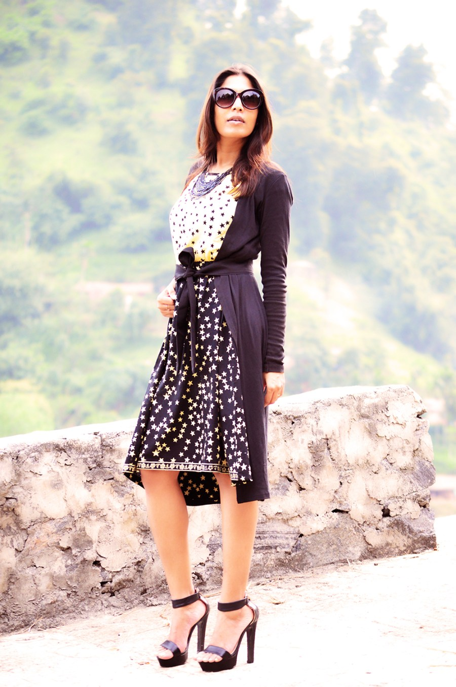 Fashion, Style, Style Over Coffee, Sarmistha Goswami, Fashion Blogger, Street Style, Beauty, Fashion Photography, Star Printed Dress, Black Shrug with belt-5