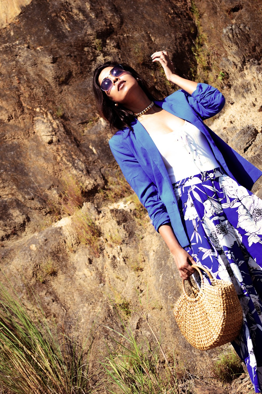 Fashion, Beauty, Lifestyle, Style, Fashion Blogger, Fashion Photography, Straw Bag, Printed Blue Culottes, Blue Blazer, Navy Boots, Round Sunglasses, Fall Fashion- 2