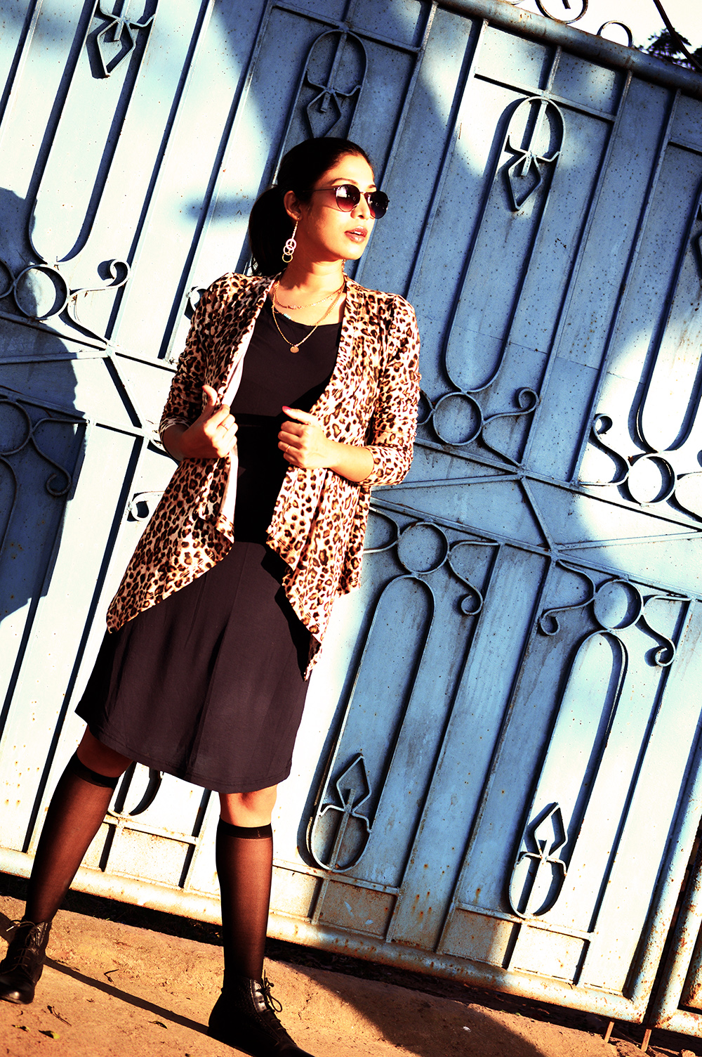 Fashion, Style, Winter Fashion, Fashion Photography, Leopard Print, Navy knit dress, Leopard printed shrug, Indian fashion Blogger-6