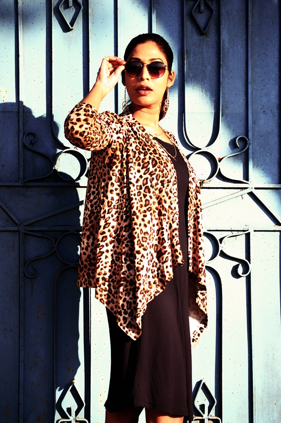Fashion, Style, Winter Fashion, Fashion Photography, Leopard Print, Navy knit dress, Leopard printed shrug, Indian fashion Blogger-7