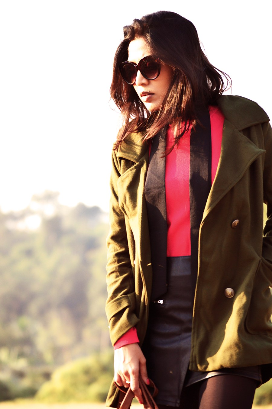 Fashion , Style, Winter Style, Olive Coat, Red Sweater, Winter Fashion, Fashion Photography, Outfit of the day, Street Style-1