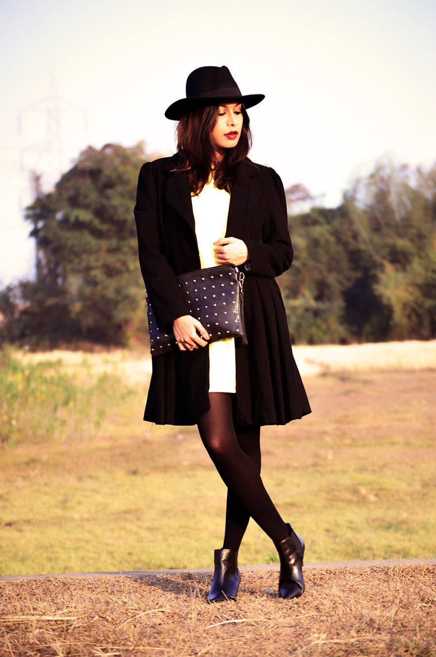 Yellow, Fashion, Style, Indian Fashion Blogger, Photography, Black Coat, Fedora Hat, Street Style-6
