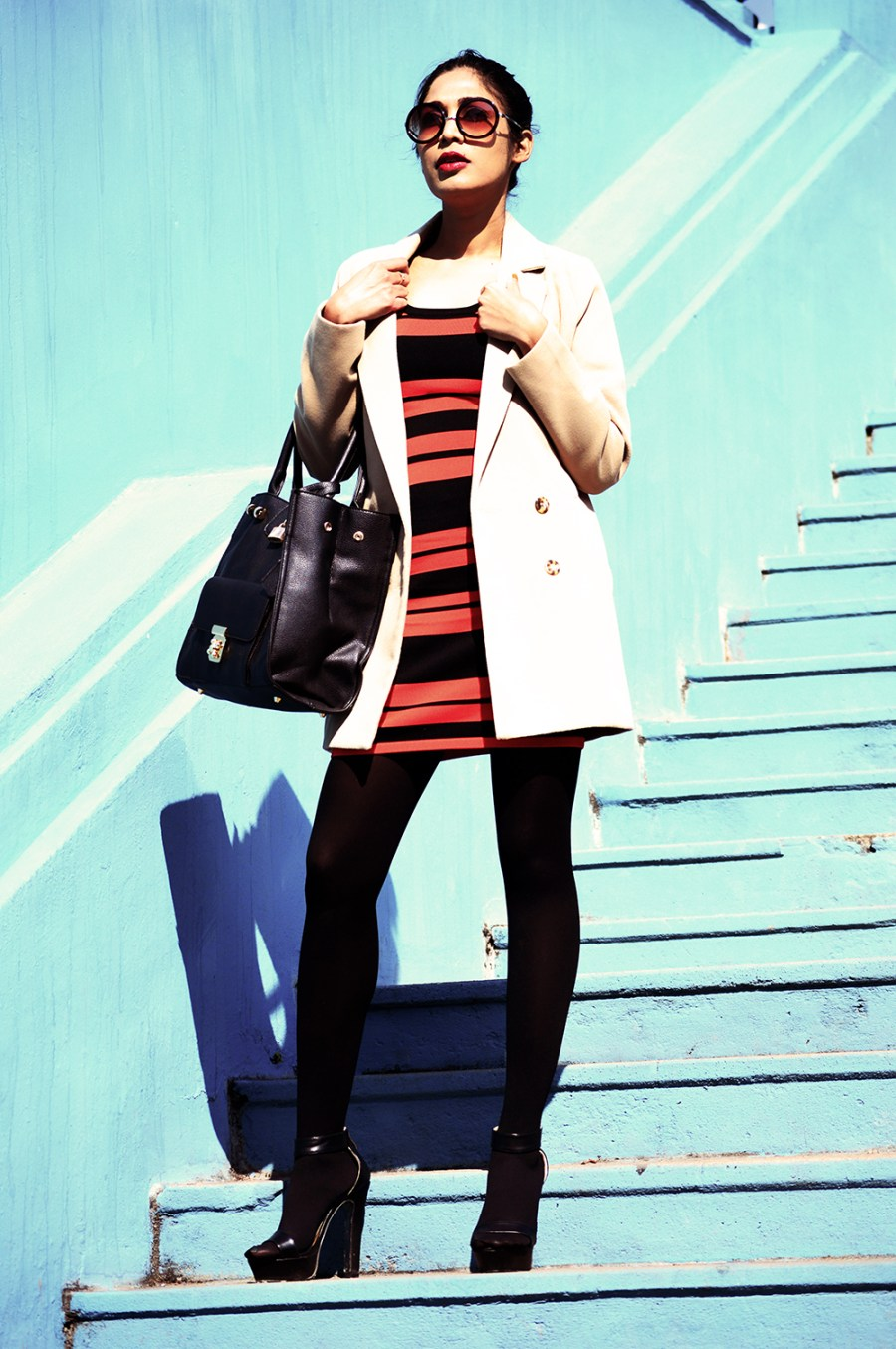 Fashion, Style, Indian Fashion color, Striped Dress, Color, Photography, Street Style, Winter Fashion, Beauty-1