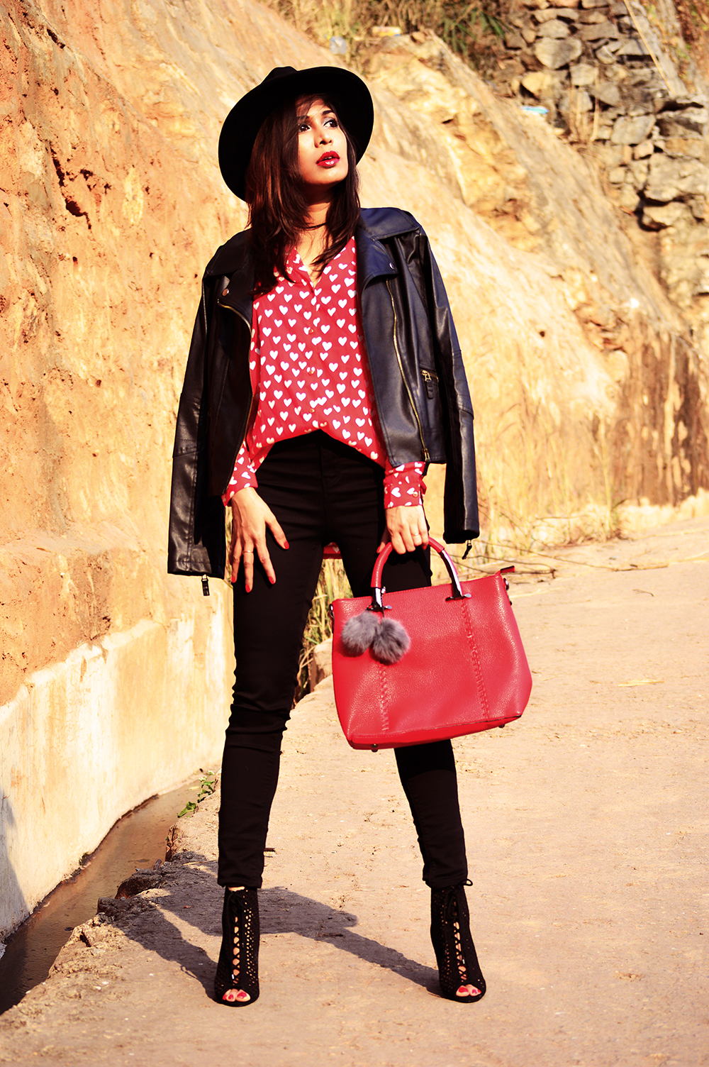 Fashion, Style, Heart Print, Indian Fashion Blogger, Street Style, Beauty, Biker Jacket, Fashion Photography-1