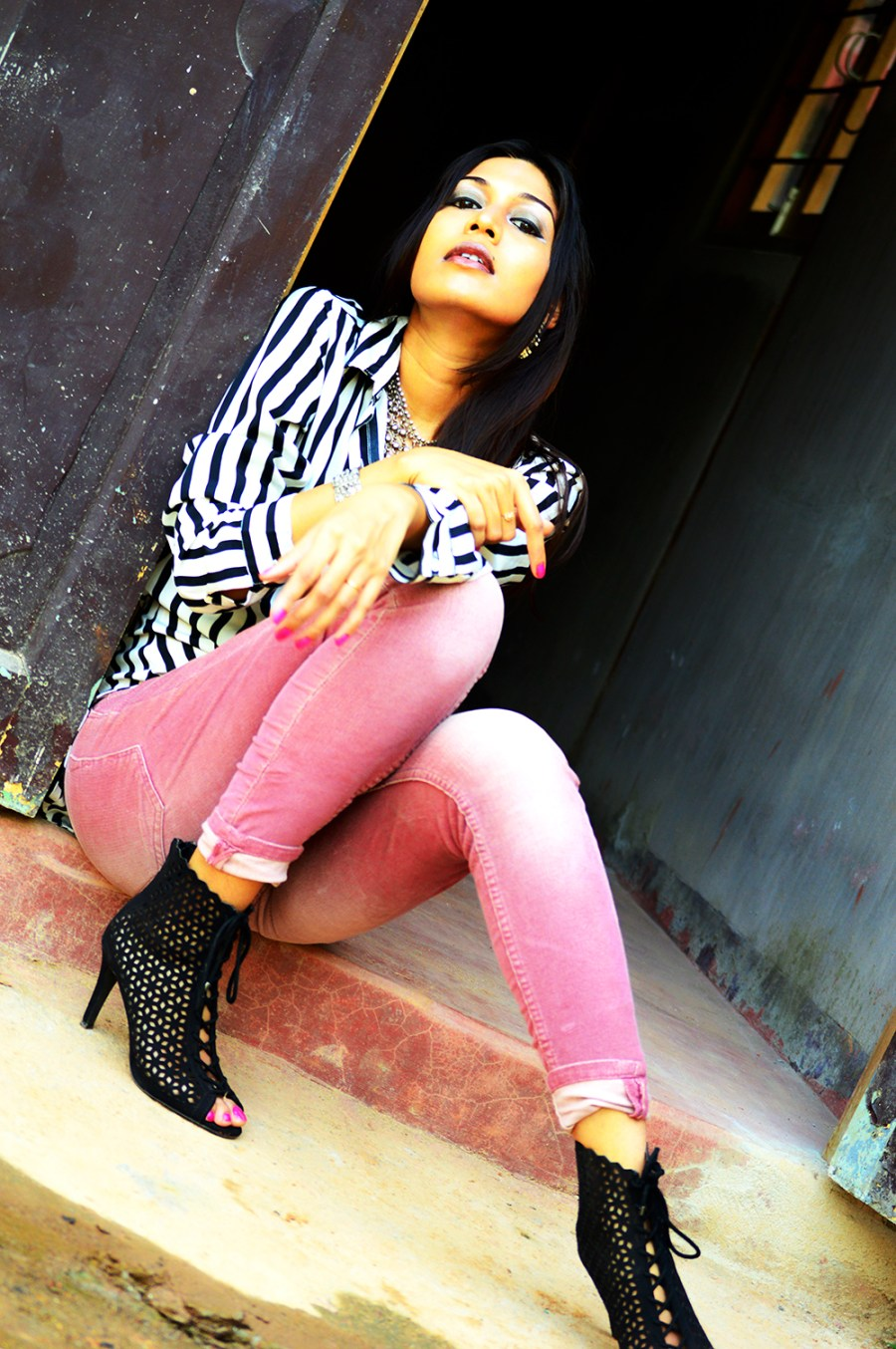 Powder Pink. Corduroy Pants, Fashion, Style, Indian Fashion Blogger, Photography, Stripes-7