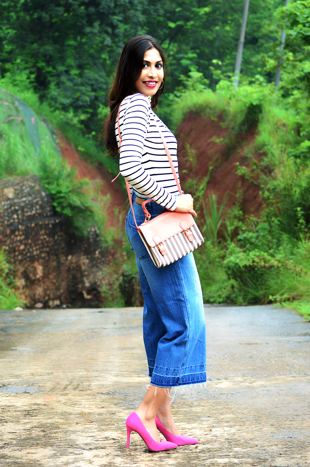 Fashion, Style, Beauty, Culottes, Denim Culottes, Photography, Striped Top-3