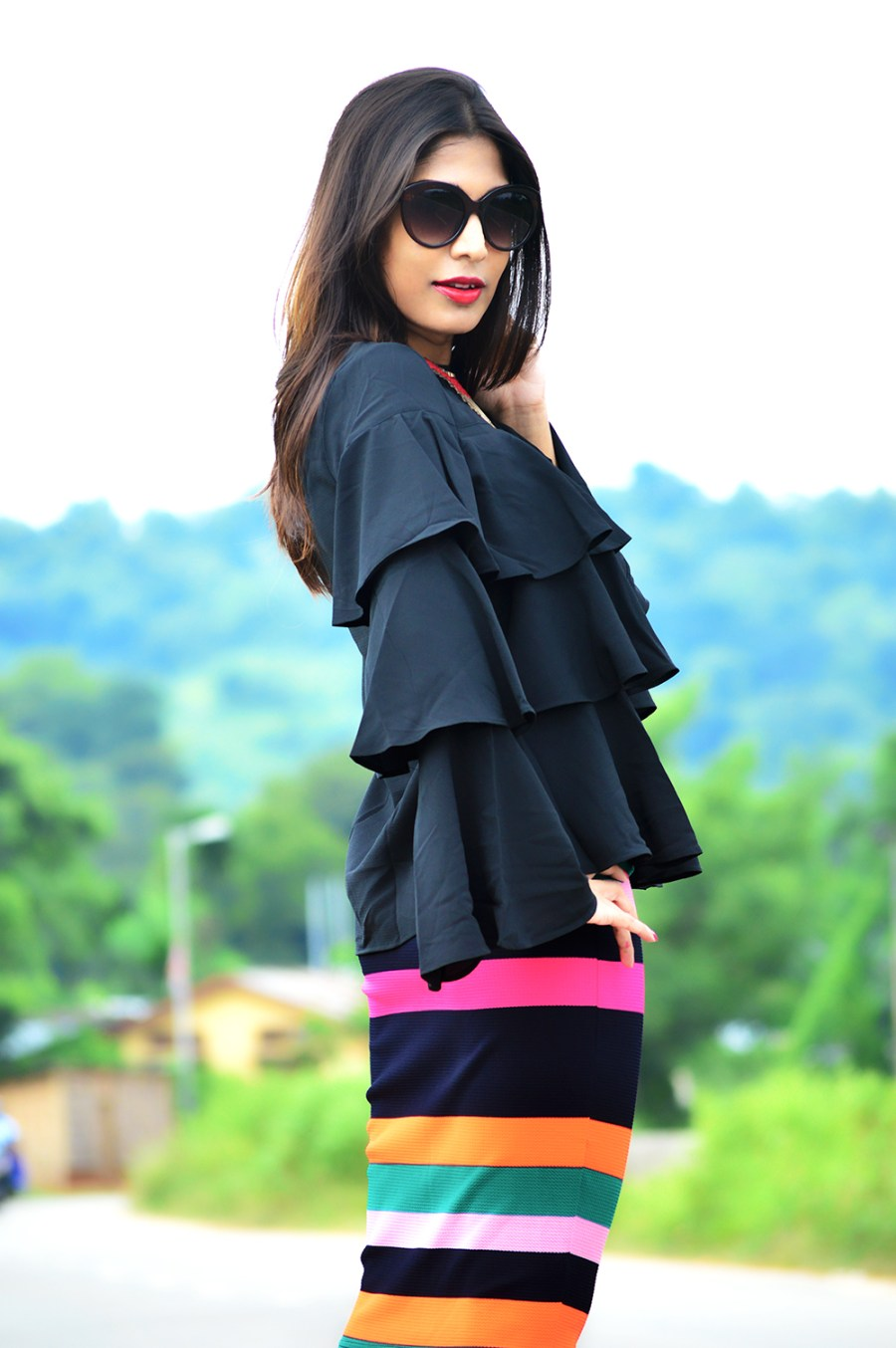 Fashion, Street Fashion, Street Style, Indian Fashion Blogger, Photography, Striped Pencil Skirt, Ruffles, Outfit of the day-5