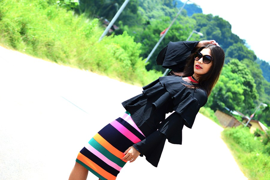 Fashion, Street Fashion, Street Style, Indian Fashion Blogger, Photography, Striped Pencil Skirt, Ruffles, Outfit of the day-1