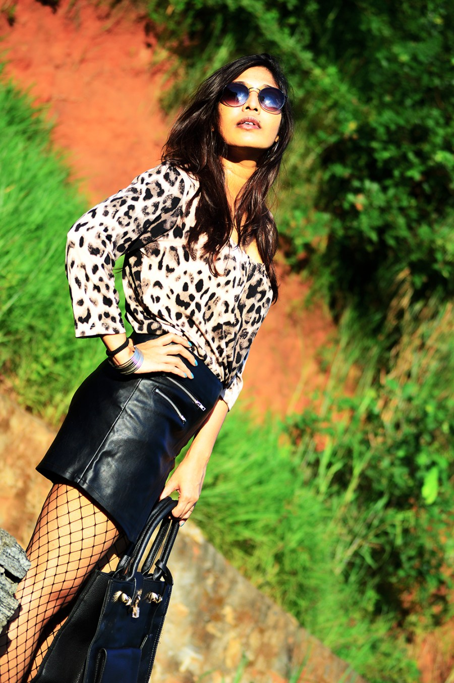 Leopard Top, Street Style, Indian Fashion Blogger, Fashion, Style, Fishnet Stockings, Faux Leather skirt, Photography-5