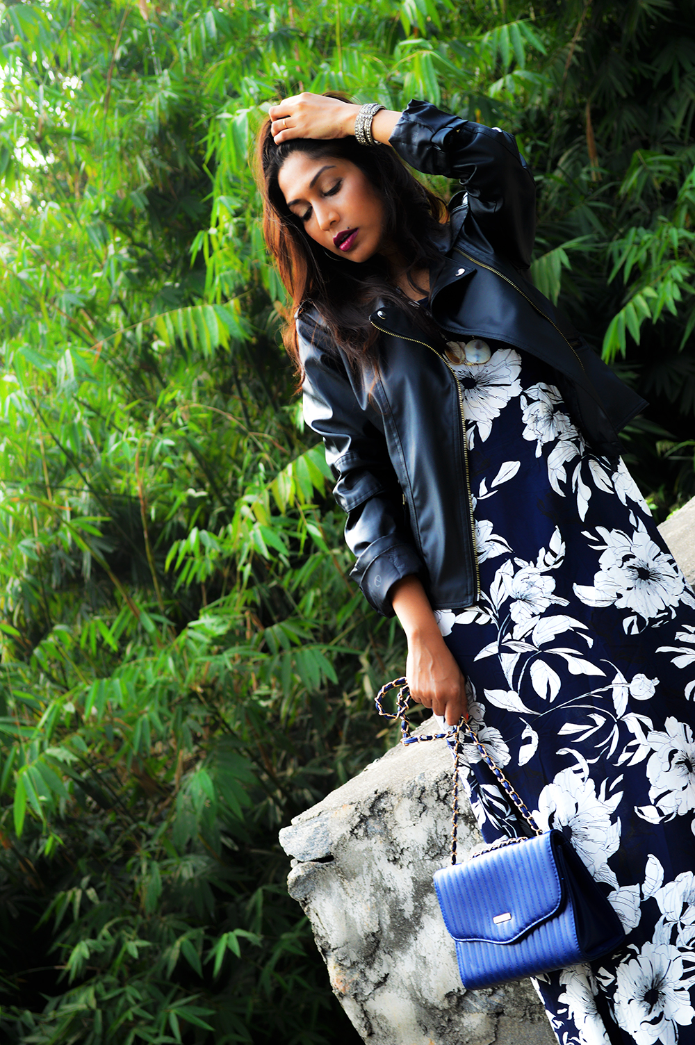 Synthetic leather, Fashion, Style, Printed maxi dress, faux leather, biker jacket, Fashion Blogger, Indian blogger, Photography, OOTD-4