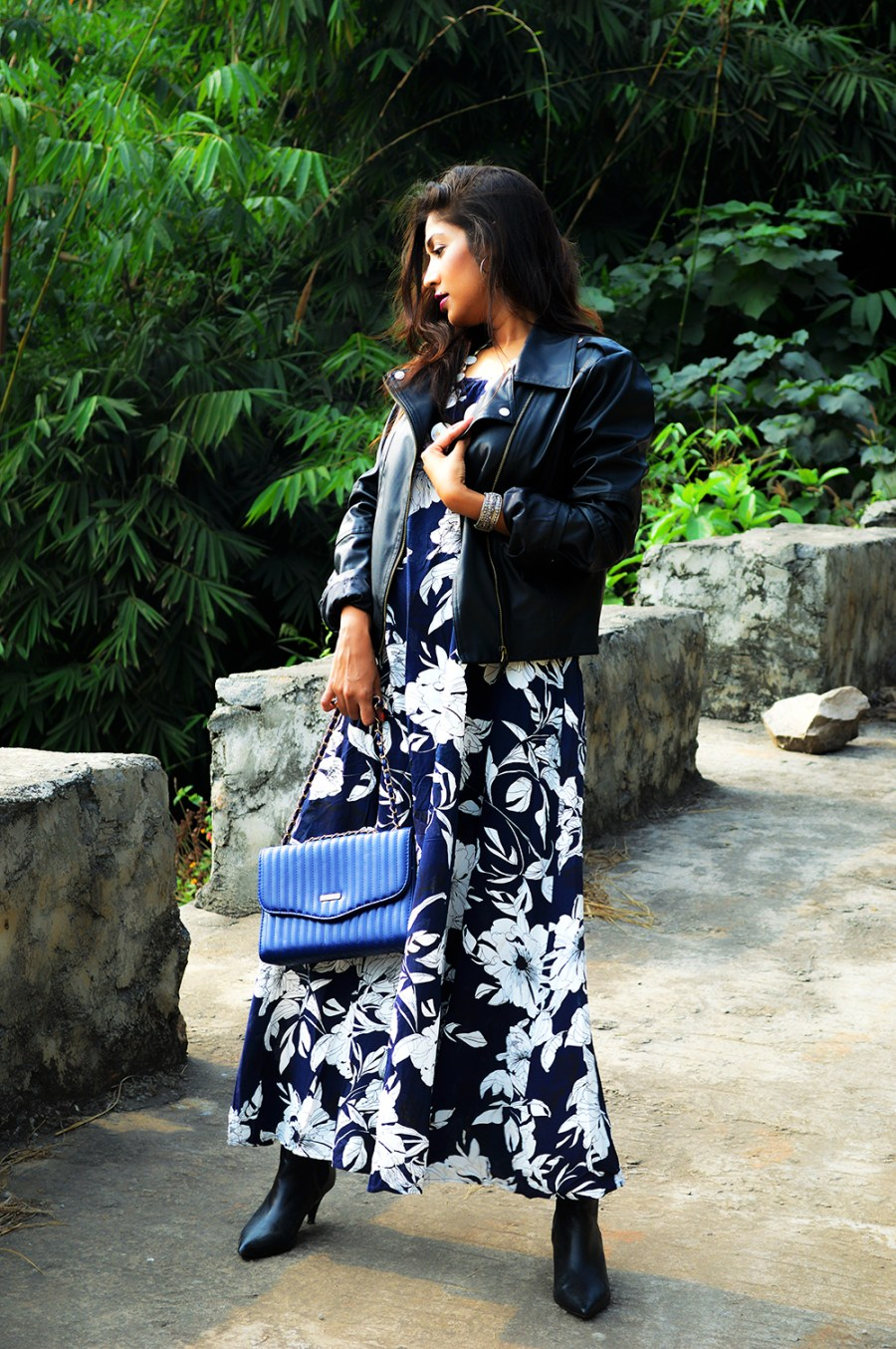 Synthetic leather, Fashion, Style, Printed maxi dress, faux leather, biker jacket, Fashion Blogger, Indian blogger, Photography, OOTD-1