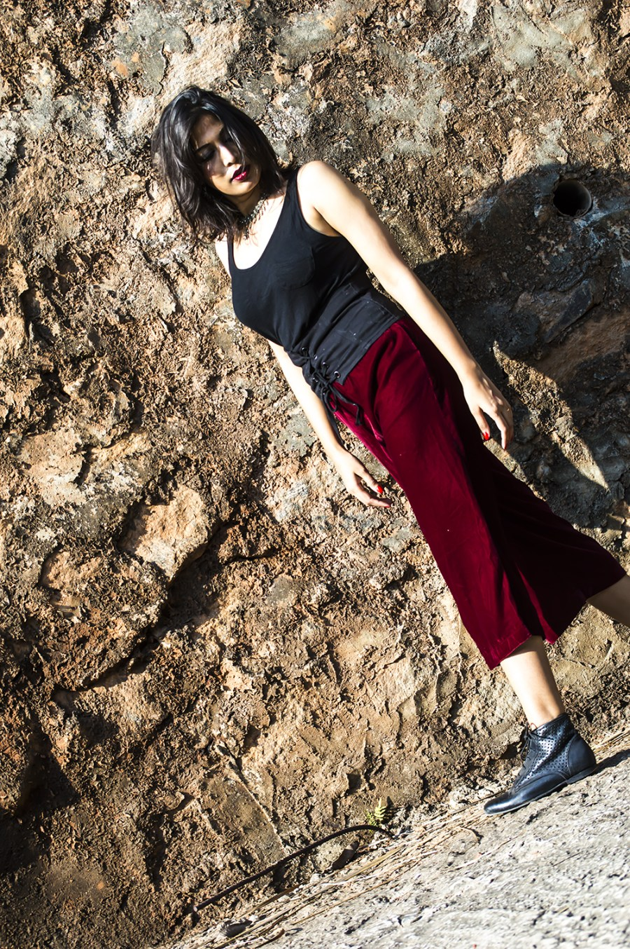 Velvet, Culottes, Fashion, Fashion Blogger, Street Style, Beauty, Indian Blogger, Maroon-2