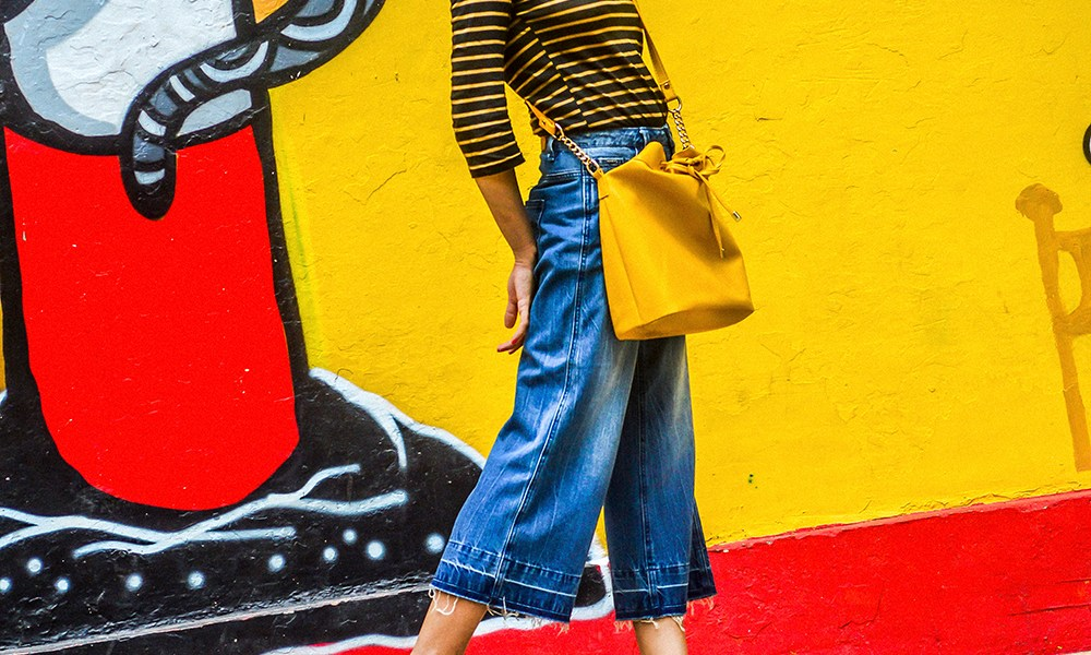 Denim, Culottes, Yellow Bag, Delhi Trip, Striped Top, Fashion Photography-2