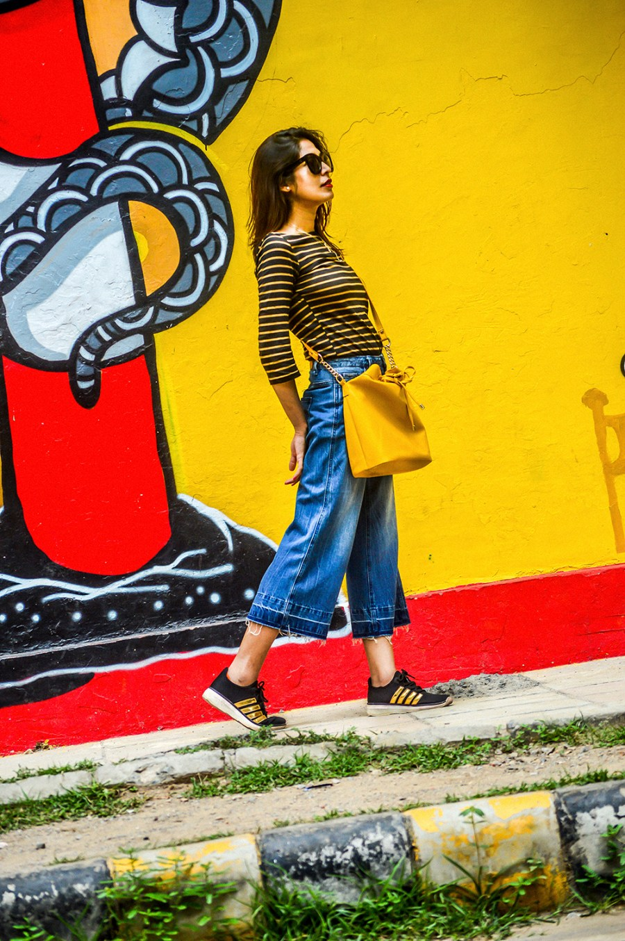 Denim, Culottes, Yellow Bag, Delhi Trip, Striped Top, Fashion Photography, Motivation-2