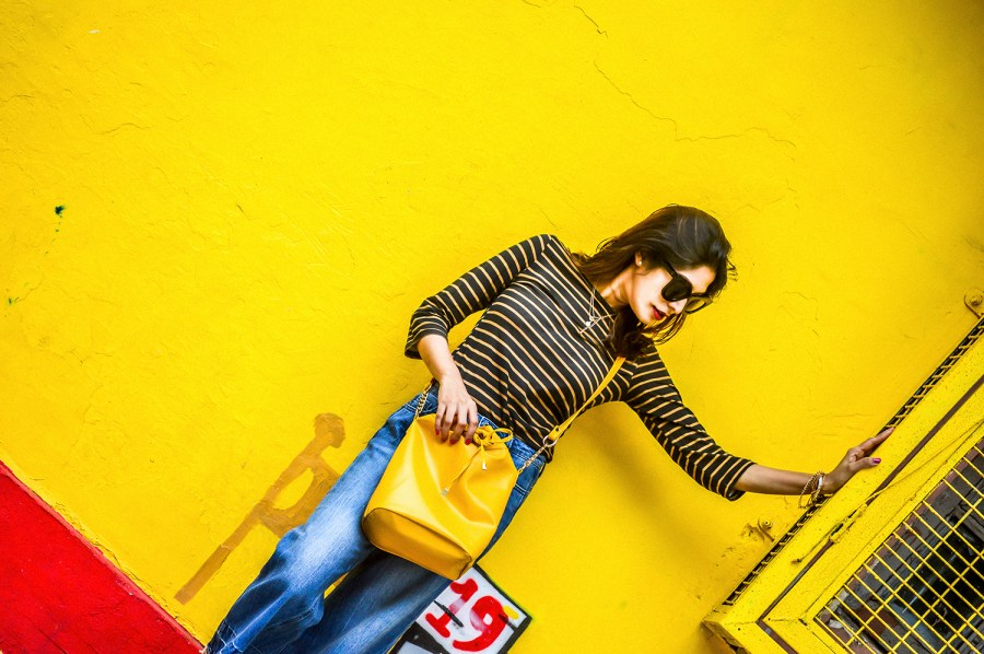 Denim, Culottes, Yellow Bag, Delhi Trip, Striped Top, Fashion Photography, Motivation-4