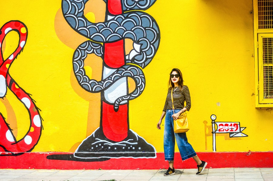 Denim, Culottes, Yellow Bag, Delhi Trip, Striped Top, Fashion Photography, Motivation-5