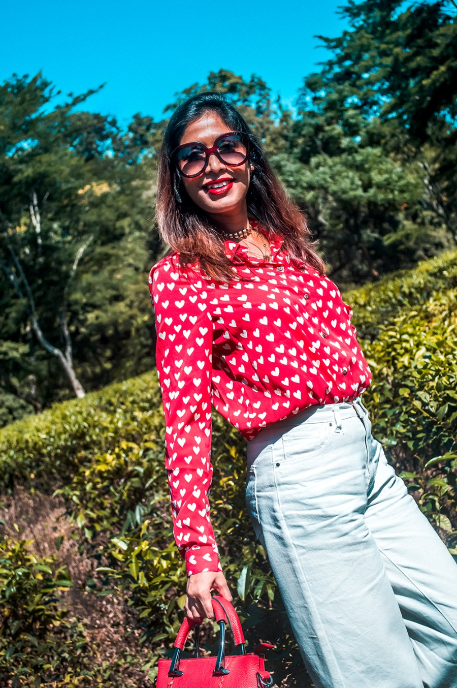 How to Style, White Denim, Culottes, Red Shirt, Red Handbag, Fashion Blogger, Indian Influencer-2
