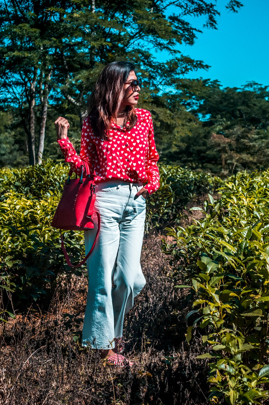 How to Style, White Denim, Culottes, Red Shirt, Red Handbag, Fashion Blogger, Indian Influencer, Sarmistha Goswami-5