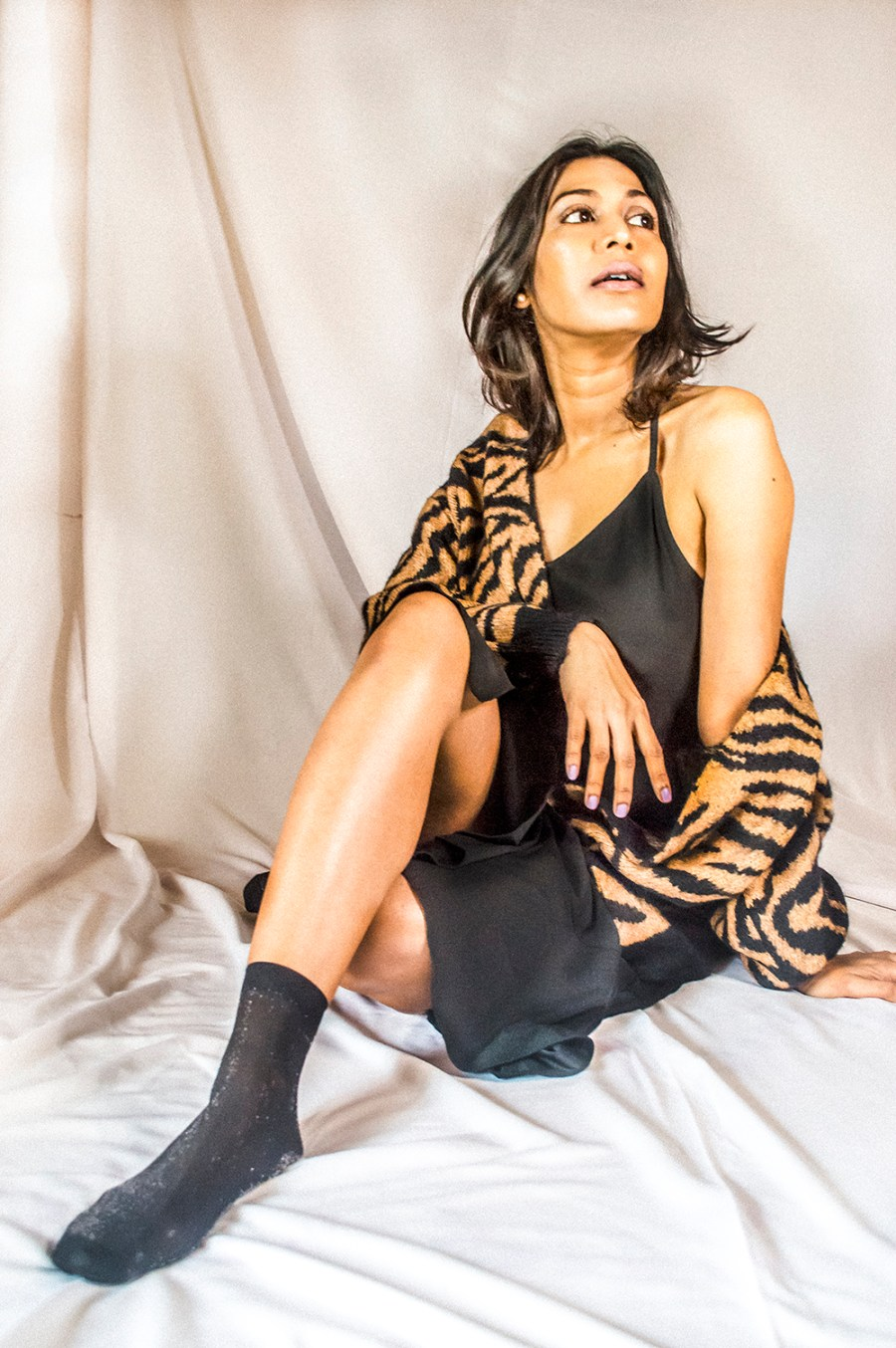 Tiger Print Sweater, Indian Blogger, Fashion Blogger, fashion Influencer, Personal Style, Black Dress, Fashion Photography-2