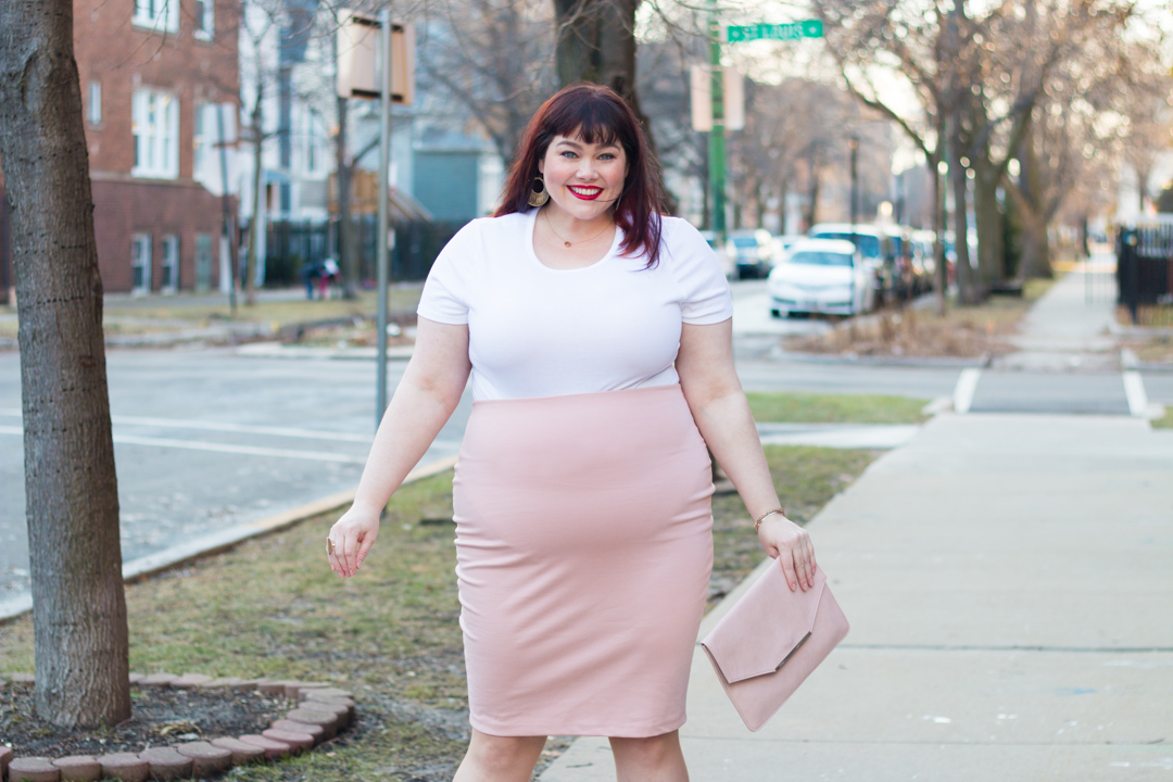At First Blush Featuring Forever 21 Plus Blush Pencil Skirt
