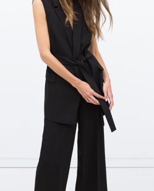 Zara WAISTCOAT WITH BELT black (front)