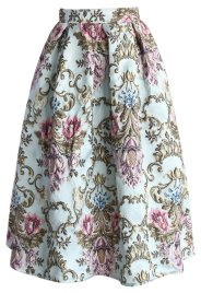My Fair Lady Baroque Embroidery Midi Skirt