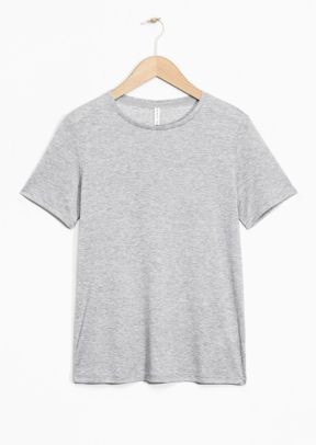 &Other Stories Straight Fit Lyocell T-Shirt light grey (100% Lyocell)