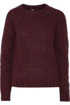 MAJE Karoline ribbed-knit sweater in burgundy