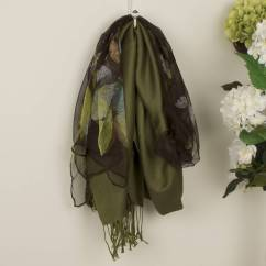 Olive Pashmina And Hazel Silk Scarf Gift Set by DIBOR in green