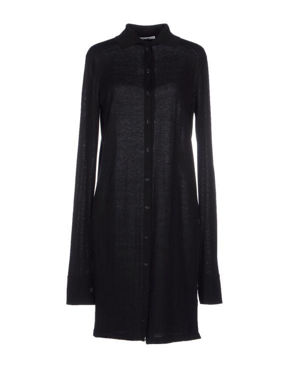 GENTRYPORTOFINO Long shirt in cotton and silk, black