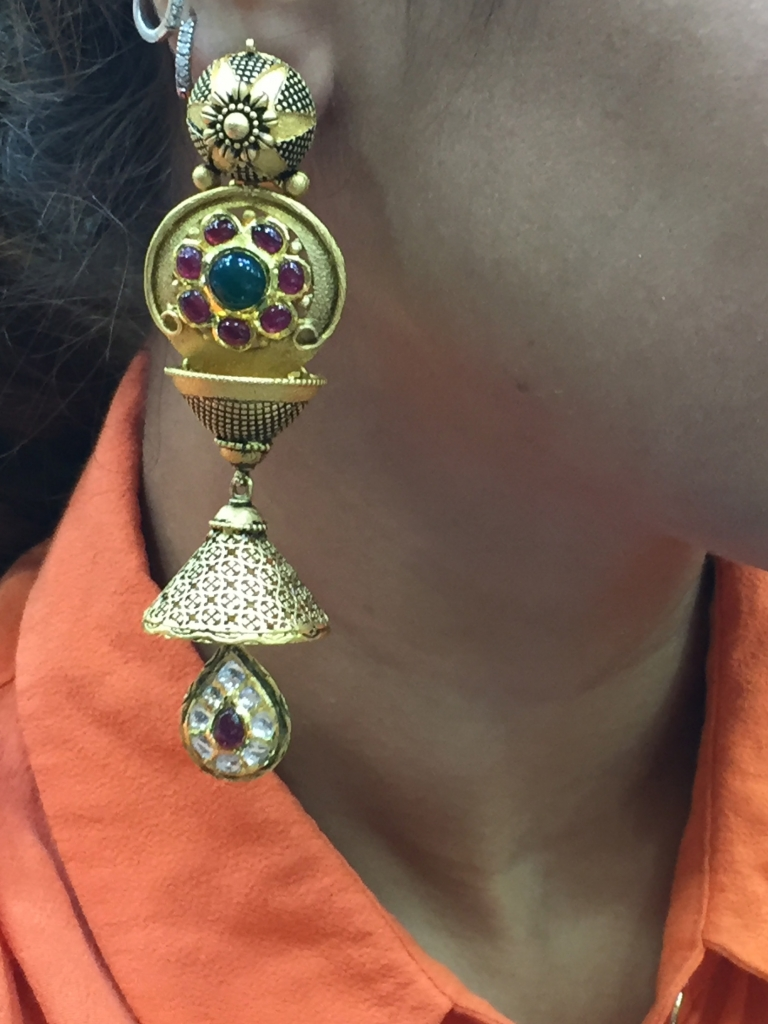 In love with the Antique Gold, Kundan, Ruby, Emerald Jhumkas. PC- Style Prer