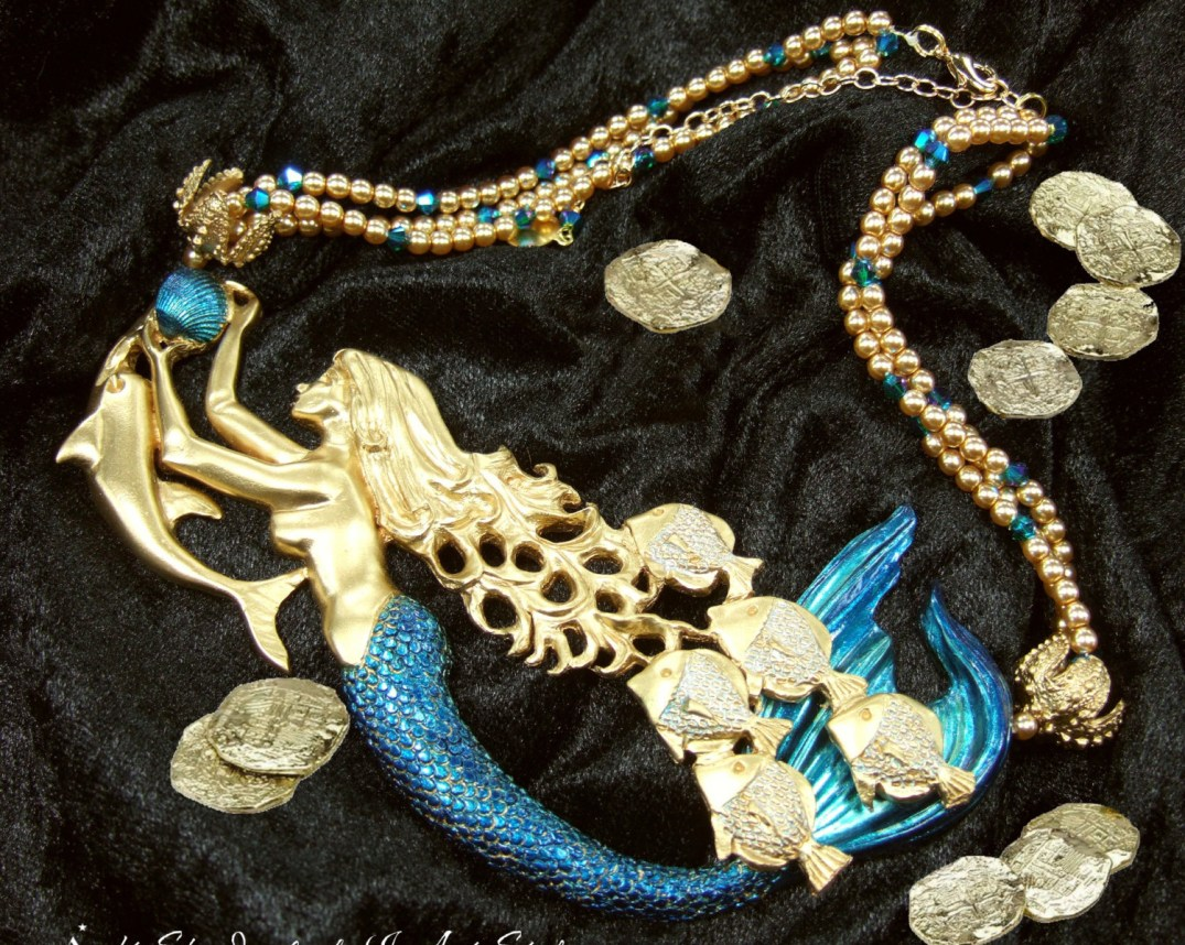 Mermaid Jewelry %22Spanish Galleon%22 with Dolphin in Gold and Blue. PC- etsy.com