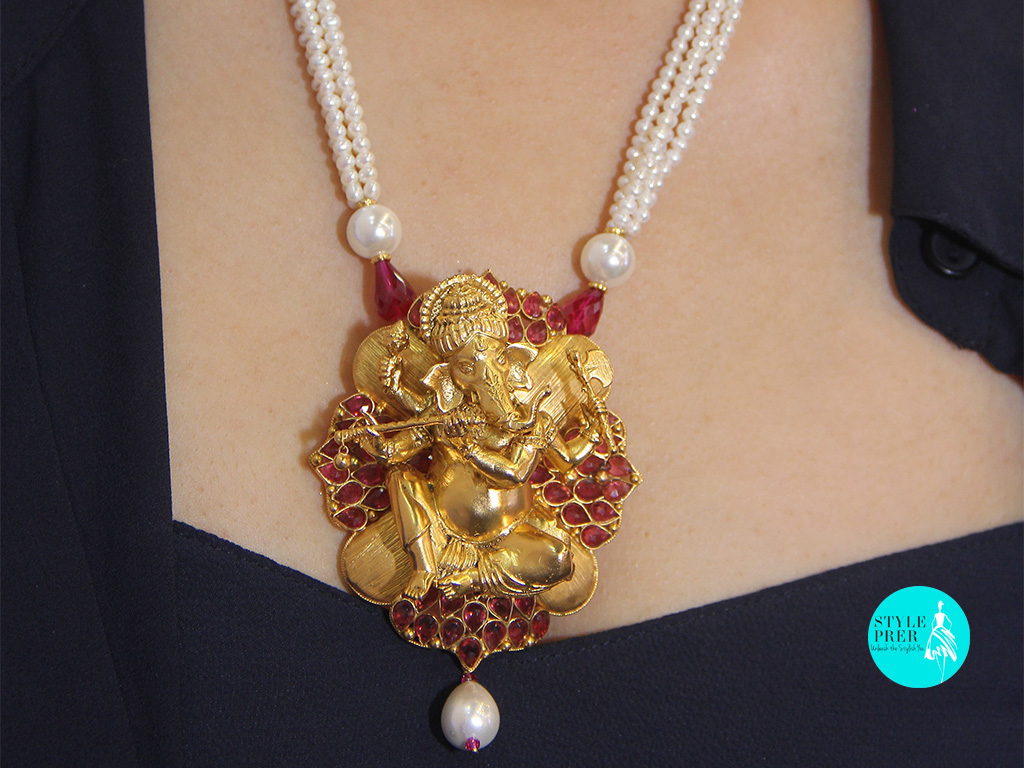 Ganesha Pendant with colored gems and Pearls- Bhavesh Jewellers.