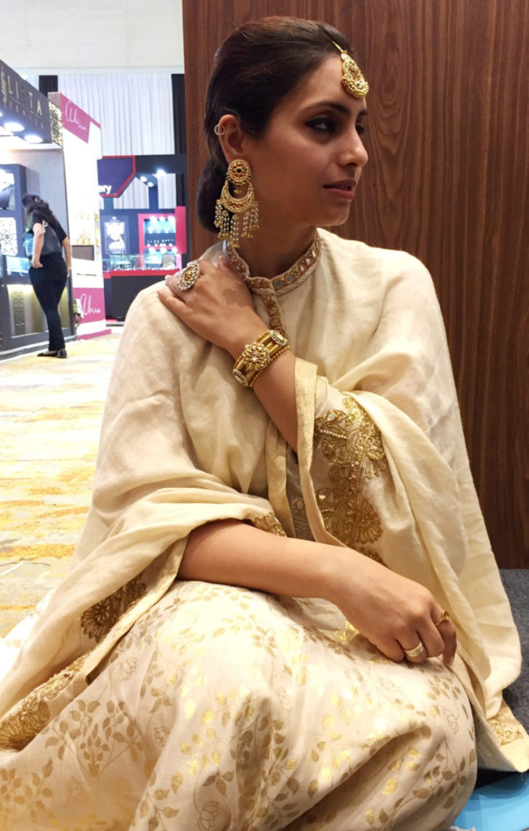 Kundan, Colored Gems And Gold Maangtikka, Chandbalis, Ring, Kada- Manubhai Jewellers. Outfit-Smitasha.
