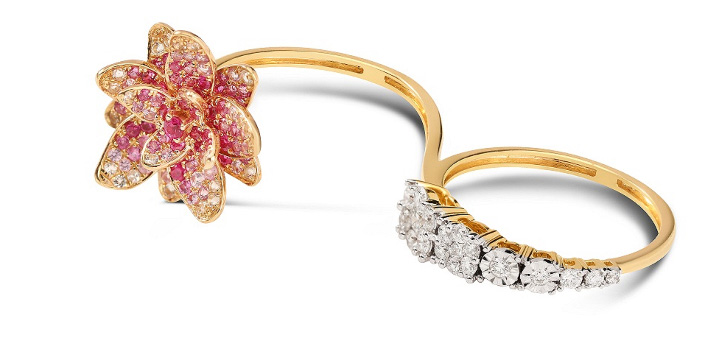 Niloufer Two Finger Lotus Ring. PC-Tanishq
