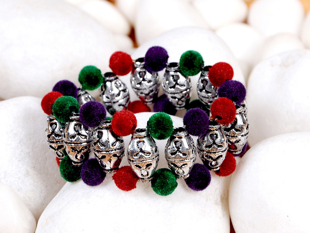 Oxidized And Colored Velvet Ball Cuff-Craftsvilla.Com