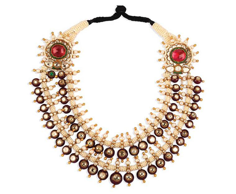 Two Layered Gemstone And Pearl Necklace. PC-Golechas