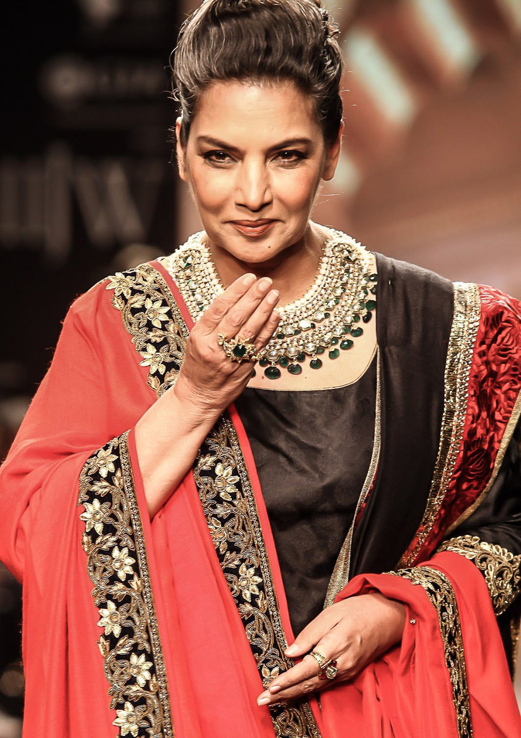 Shabana Azmi Wearing Golecha's Jadav Necklace Set At IIJW 2013. PC-Gleebize