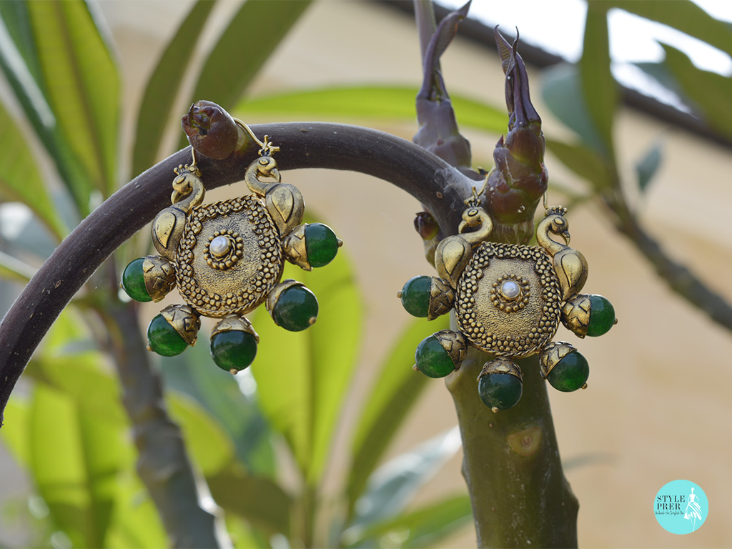 Gold Plated Silver Earrings With Double Domed Peacocks Decorated With Green Onyx